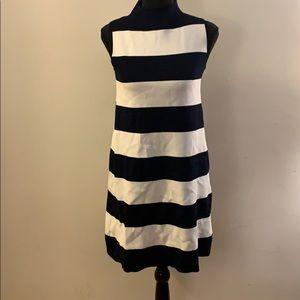 Striped Mock-neck Dress